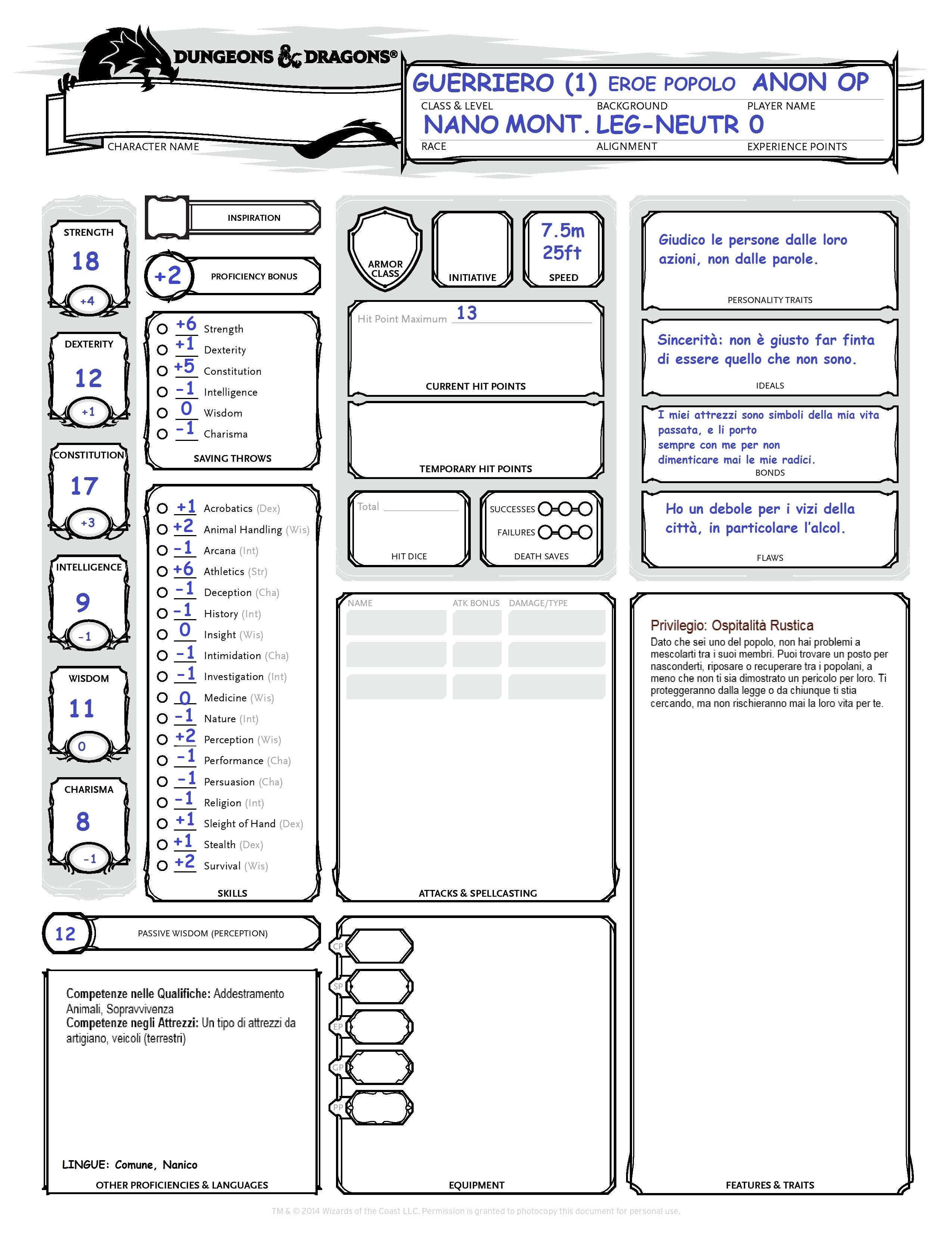 Traditional GamesD D 5e Character Sheet Fillable